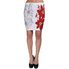 Poinsettia Flower Coloring Page Bodycon Skirt