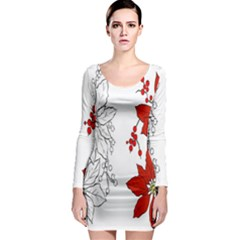 Poinsettia Flower Coloring Page Long Sleeve Bodycon Dress