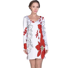 Poinsettia Flower Coloring Page Long Sleeve Nightdress
