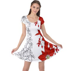 Poinsettia Flower Coloring Page Cap Sleeve Dresses