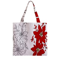 Poinsettia Flower Coloring Page Zipper Grocery Tote Bag