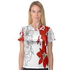 Poinsettia Flower Coloring Page Women s V Neck Sport Mesh Tee