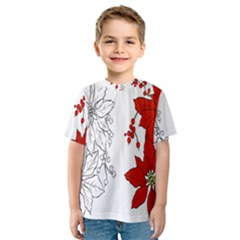 Poinsettia Flower Coloring Page Kids  Sport Mesh Tee
