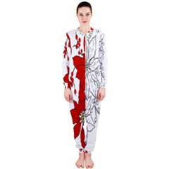Poinsettia Flower Coloring Page OnePiece Jumpsuit (Ladies)