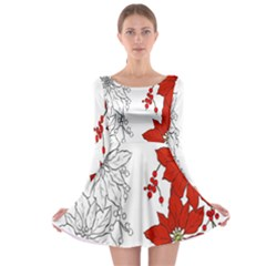 Poinsettia Flower Coloring Page Long Sleeve Skater Dress