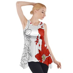 Poinsettia Flower Coloring Page Side Drop Tank Tunic