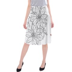 Poinsettia Flower Coloring Page Midi Beach Skirt