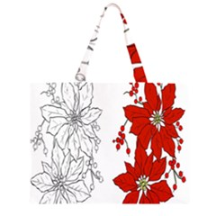 Poinsettia Flower Coloring Page Large Tote Bag