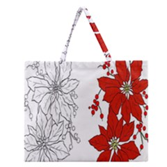 Poinsettia Flower Coloring Page Zipper Large Tote Bag