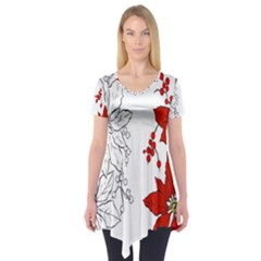 Poinsettia Flower Coloring Page Short Sleeve Tunic