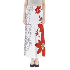 Poinsettia Flower Coloring Page Maxi Skirts