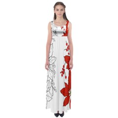 Poinsettia Flower Coloring Page Empire Waist Maxi Dress