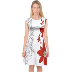 Poinsettia Flower Coloring Page Capsleeve Midi Dress