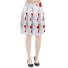 Poinsettia Flower Coloring Page Pleated Skirt