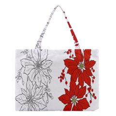 Poinsettia Flower Coloring Page Medium Tote Bag