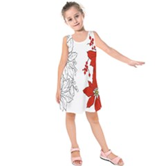 Poinsettia Flower Coloring Page Kids  Sleeveless Dress