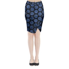 HXG2 BK-MRBL BL-STONE (R) Midi Wrap Pencil Skirt