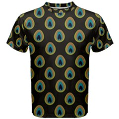 Peacock Inspired Background Men s Cotton Tee