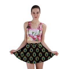 Peacock Inspired Background Mini Skirt