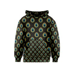Peacock Inspired Background Kids  Pullover Hoodie