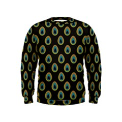 Peacock Inspired Background Kids  Sweatshirt
