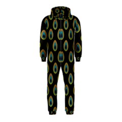 Peacock Inspired Background Hooded Jumpsuit (Kids)