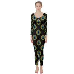 Peacock Inspired Background Long Sleeve Catsuit
