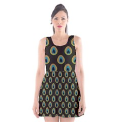 Peacock Inspired Background Scoop Neck Skater Dress