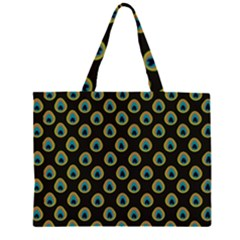 Peacock Inspired Background Large Tote Bag