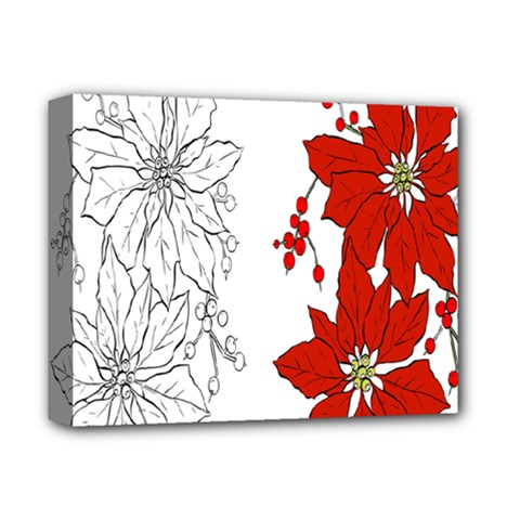 Poinsettia Flower Coloring Page Deluxe Canvas 14  x 11