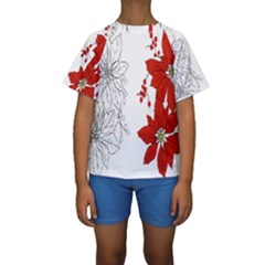 Poinsettia Flower Coloring Page Kids  Short Sleeve Swimwear