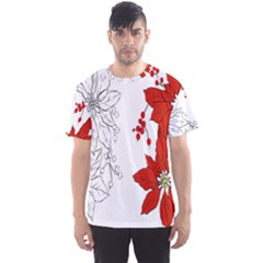 Poinsettia Flower Coloring Page Men s Sport Mesh Tee