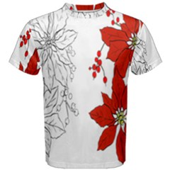 Poinsettia Flower Coloring Page Men s Cotton Tee