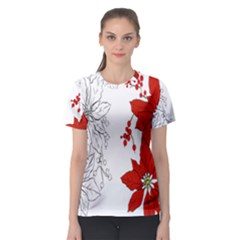 Poinsettia Flower Coloring Page Women s Sport Mesh Tee