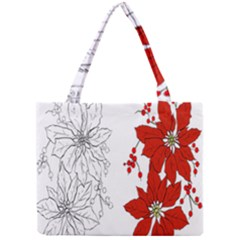 Poinsettia Flower Coloring Page Mini Tote Bag