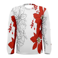 Poinsettia Flower Coloring Page Men s Long Sleeve Tee