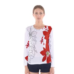 Poinsettia Flower Coloring Page Women s Long Sleeve Tee