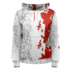 Poinsettia Flower Coloring Page Women s Pullover Hoodie