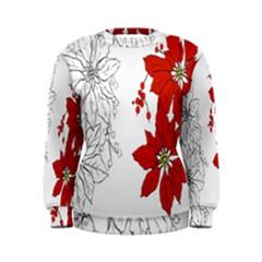 Poinsettia Flower Coloring Page Women s Sweatshirt
