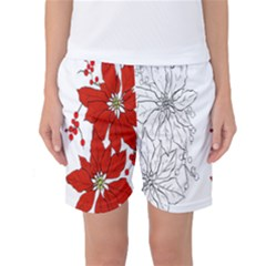 Poinsettia Flower Coloring Page Women s Basketball Shorts