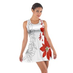 Poinsettia Flower Coloring Page Cotton Racerback Dress