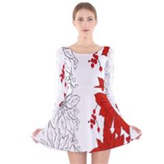 Poinsettia Flower Coloring Page Long Sleeve Velvet Skater Dress