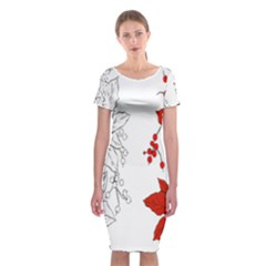 Poinsettia Flower Coloring Page Classic Short Sleeve Midi Dress