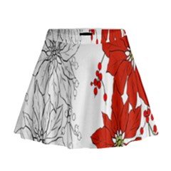 Poinsettia Flower Coloring Page Mini Flare Skirt