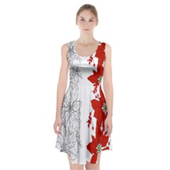 Poinsettia Flower Coloring Page Racerback Midi Dress