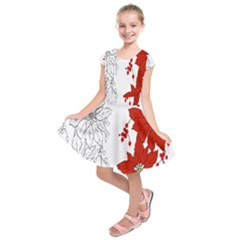 Poinsettia Flower Coloring Page Kids  Short Sleeve Dress