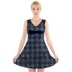 HTH1 BK-MRBL BL-STONE V-Neck Sleeveless Skater Dress