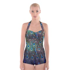 Peacock Jewelery Boyleg Halter Swimsuit