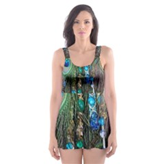 Peacock Jewelery Skater Dress Swimsuit
