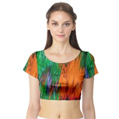 Watercolor Grunge Background Short Sleeve Crop Top (Tight Fit)